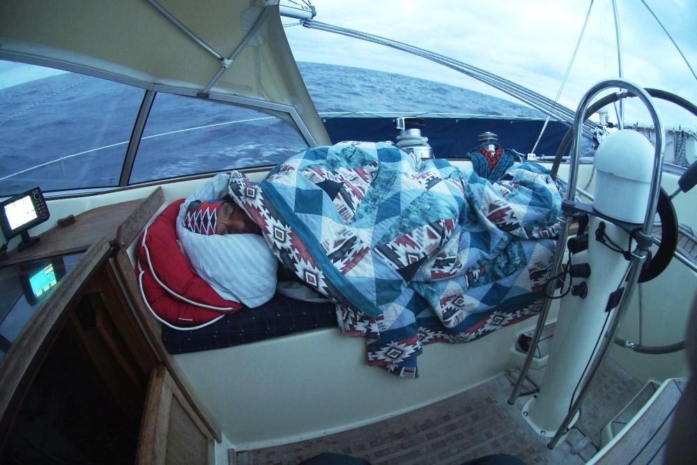 Tomy sleeping on deck
