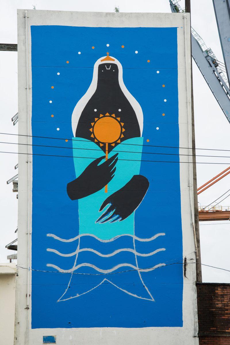 Yemanja, Grafitti im Hafen von Salvador, Bahia